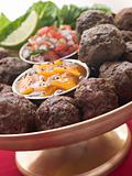 Platter of Kofta Balls with Mango Chutney and Tomato Relish