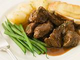 Beef Carbonnade with a Mustard Crouton and Green Beans