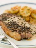 Steak au Poirve' with Saut Potatoes