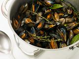Pan of Moules Mariniere