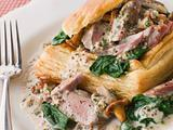 Chicken Livers Spinach and Girolle Mushrooms served in a Vol-au-