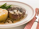 Filet Mignon au Poirve&#39; with French Beans and Pomme Anna