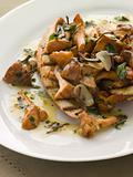 Wild Mushrooms Sauteed in Garlic Butter with Char grilled Baguet