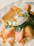 Seared Salmon Spinach and a Poached Egg in a Vol-au-Vent Case wi