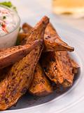 Sweet Potato Skins with a Blue Cheese Dip