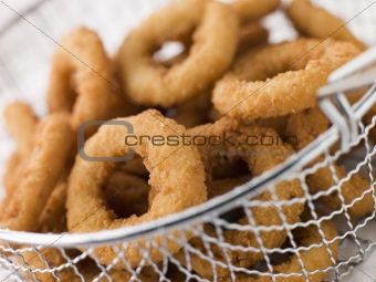 Breaded Onion Rings in a Basket