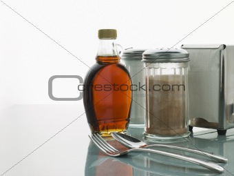 Diner Table with Cutlery and Sauces