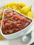 Pot of Burger Relish with Pickled Californian Chillies