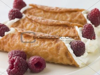 Cream Brandy Snaps with Raspberries