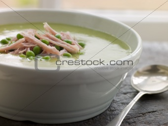 Bowl of Pea and Ham Soup