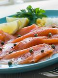 Scottish Smoked Salmon with Lemon Capers and Egg