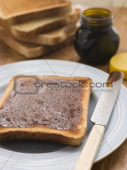 Slices of Toast with Yeast Extract Spread