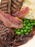 Grilled Calves Liver and Bacon with Mashed Potato and Peas