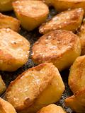Tray of Roast Potatoes with Sea Salt