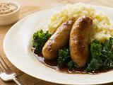 Pork Sausage and Mash with Curly Kale