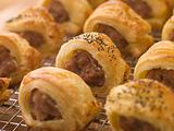 Sausage Rolls on a Cooling Rack