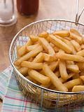 Chips in a Deep Frying Basket