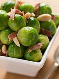 Brussel Sprouts with Fried Bacon and Almonds
