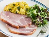 Boiled Collar of Bacon with Piccalilli and Salad