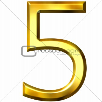 3d golden number 5