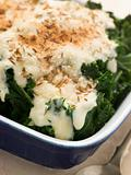 Curly Kale with Cheese Sauce Caraway Seeds and Breadcrumbs