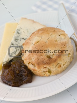 Cinnamon and Apple Scone with Stilton Cheddar and Chutney