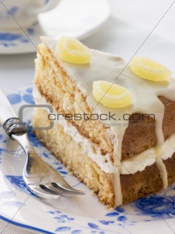 Slice of Lemon Drizzle Cake