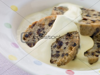 Bowl of Spotted Dick with Custard