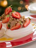 Meringue Nests filled with a Sweet Chestnut Cream and Strawberri