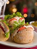 Roast Turkey Rolls with Lettuce Tomato and Mayonnaise