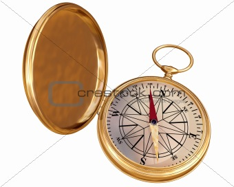 Old compass isolated