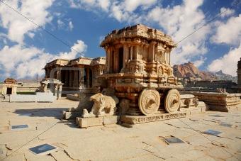 Chariot in the vittalla temple in Hampi.