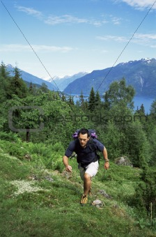 Man hiking in the great outdoors,