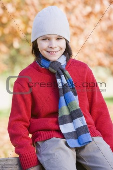 Young boy sitting on fence