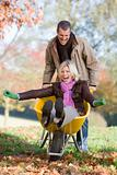 Man pushing wife in wheelbarrow