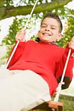 Young boy having fun on swing