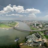 Wide angle picture of river Rhine und Düsseldorf, Germany