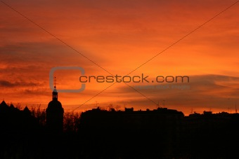 City sunset in winter