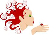 Lady kissing ladybug
