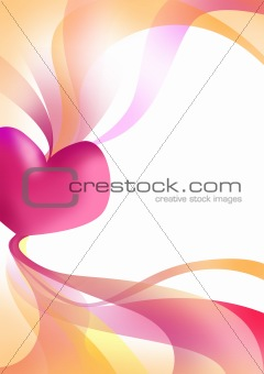 Valentine heart with ribbons background