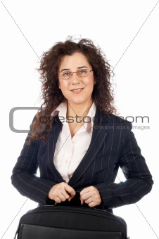 Business woman holding a laptop bag