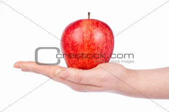 A red apple in the hand