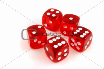 5 dice thrown onto the table