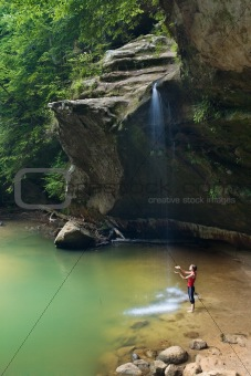 Woman at the Waterfall - Hawking Hills, Ohio