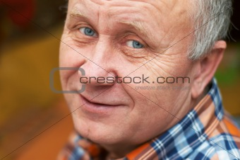 Casual bald senior man emotional portrait series.