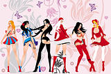  Posing Girls - Vector Illustration