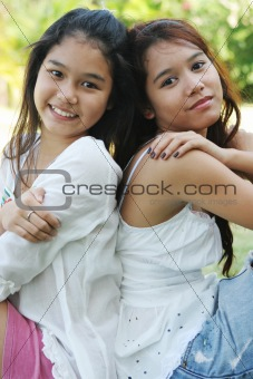 Portrait of two lovely Thai girls