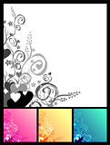 Love & flowers & scrolls background.