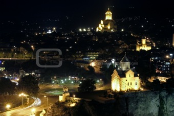 Night Tbilisi view