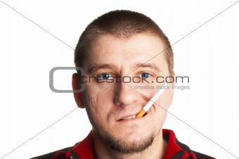 casual short haired middle aged man posing with cigarette